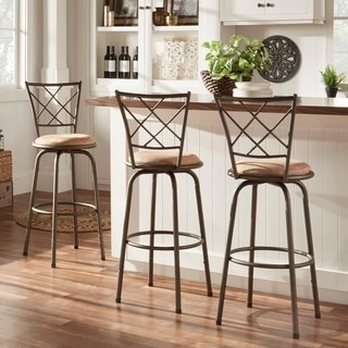 TRIBECCA HOME Avalon Quarter Cross Swivel Counter Barstool (Set of 3)