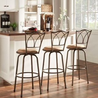 TRIBECCA HOME Avalon Double Cross Swivel Counter Barstool (Set of 3)