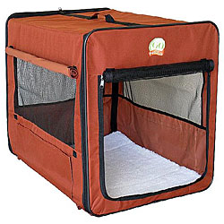 Brown 43-inch Portable Nylon Folding Soft Dog Crate with Mesh Door
