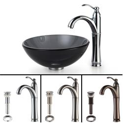 Kraus Bathroom Combo Set Black Clear 14-inch Glass Sink/ Faucet