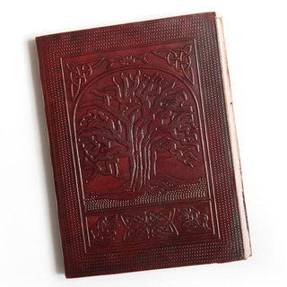 Leather and Recycled Paper Tree of Life Journal (India)