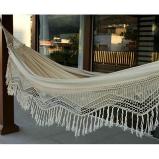 Manaus Outdoor Garden and Patio 100% Cotton Beige Eco Friendly Vintage Look Hand Crocheted Macrame Edge Double Hammock (Brazil)