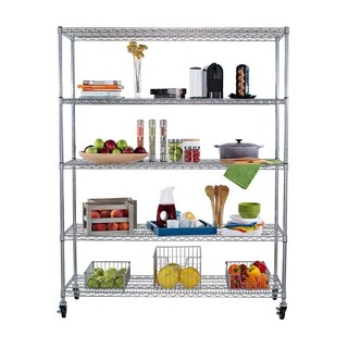 Trinity 5-tier Heavy Duty Commercial Chrome Wire Shelving Rack