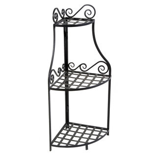 Panacea Olde World Forged Corner Black Plant Stand