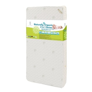 LA Baby Natural I 2-in-1 Crib Mattress with Blended Visco Bamboo Quilted Cover and Organic Cotton Layer