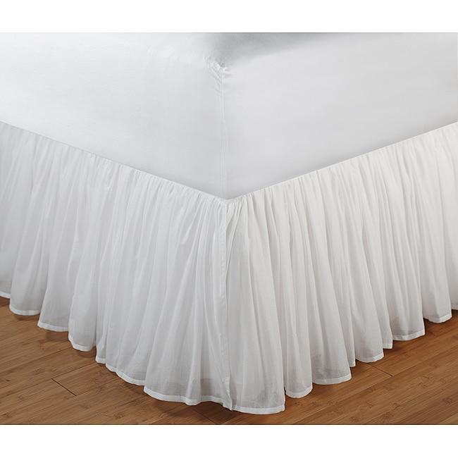 Bed Skirt Double Size Light Grey 35 CM Deep Microfiber Wrap Bedskirts
