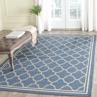 Safavieh Blue/Beige Trellis Indoor/Outdoor Rug (4' x 5'7)