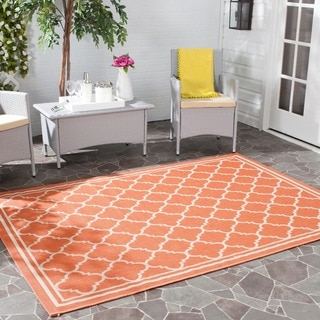 Safavieh Poolside Terracotta/ Bone Indoor Outdoor Rug (4' x 5'7)