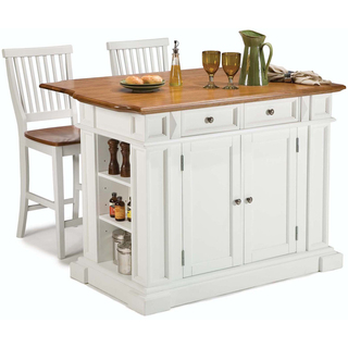 Home Styles White Distressed Oak Kitchen Island and Bar Stools