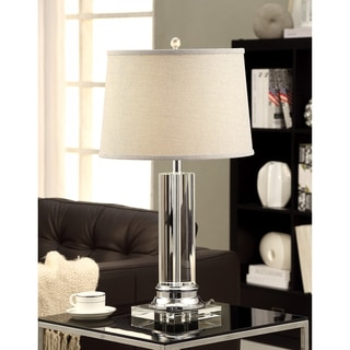 Crystal Column Table Lamp with Grey Shade