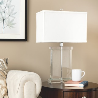 Crystal Rectangular White Shade Table Lamp