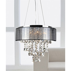 Visalia Chrome and Translucent Black Shade 9-light Crystal Chandelier