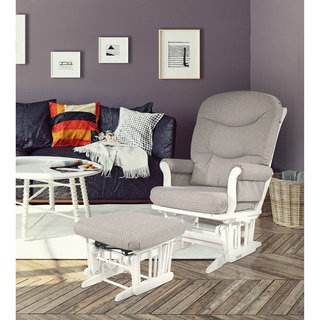 Dutailier Ultramotion Light Grey Multiposition Reclining Sleigh Glider and Ottoman Set