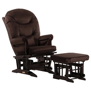 Dutailier Ultramotion Chocolate Multiposition Reclining Sleigh Glider and Nursing Ottoman Set