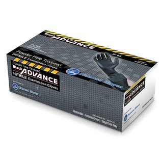 Black Advance Nitrile Examination Powder Free Heavy Duty 6.3 mil Gloves by Diamond Gloves (Pack of 10)
