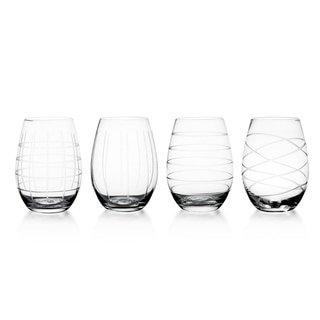 Fifth Avenue Crystal Medallion Stemless Wine Glasses (Set of 4)