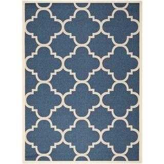 Safavieh Indoor/Outdoor Courtyard Navy/Beige Polypropylene Area Rug (5'3 x 7'7)