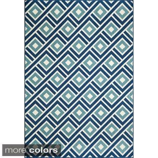Indoor/ Outdoor Blue Blocks Rugs (5'3 x 7'6)
