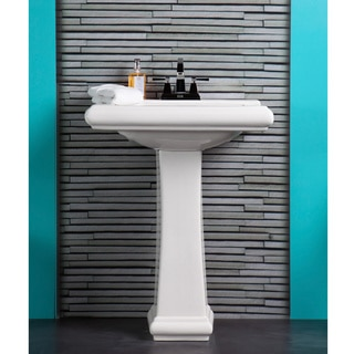 Fine Fixtures Ashfield Ceramic White Pedestal Bathroom Sink