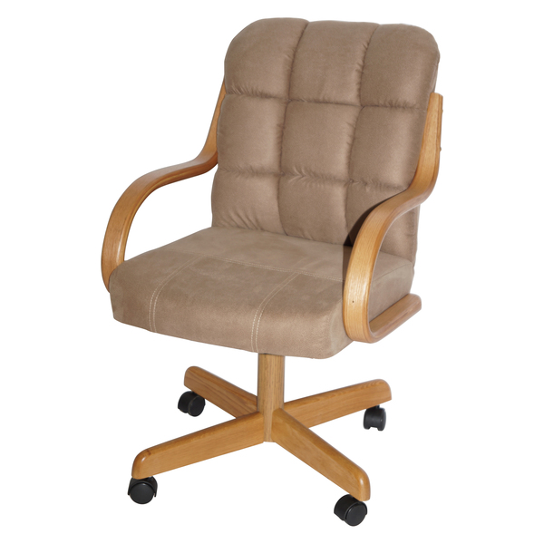 Brown Upholstered Casual Rolling Dining, Rolling Dining Room Chairs
