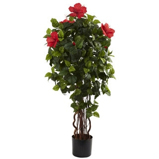 Nearly Natural 4-foot Hibiscus Tree Decorative Plant