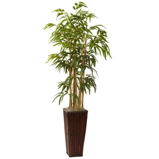 Nearly Natural 4-Foot Bamboo with Decorative Planter