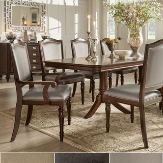 TRIBECCA HOME LaSalle Espresso Pedestal Extending Table Dining Set