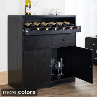 Furniture of America Transitional Black Multi Shelf Bar Buffet Unit