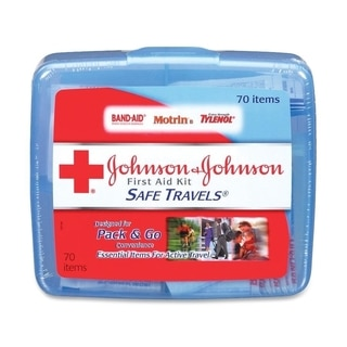 Johnson & Johnson Red Cross Portable Travel First Aid Kit, 70 Pieces, Plastic Case