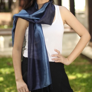Handcrafted Silk Bluebell Duality Scarf (Thailand)