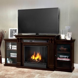 Real Flame Calie Dark Walnut Entertainment Center Gel 67-inch Fireplace