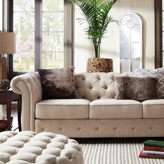 SIGNAL HILLS Knightsbridge Beige Linen Tufted Scroll Arm Chesterfield Sofa