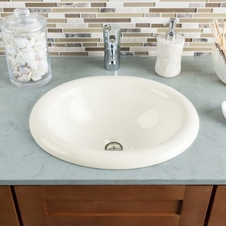 Hahn Ceramic Medium Oval Bowl Bisque Bathroom Sink