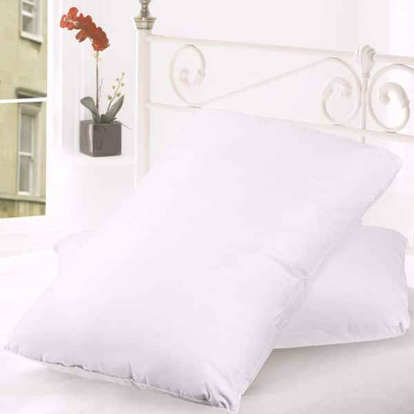 Hotel Grand Pillows Feather Down 2-Pack 500-Thread Count Cotton Cover