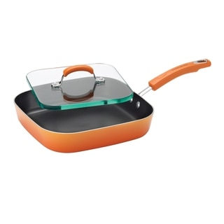 Rachael Ray Porcelain II Aluminum Nonstick 11-inch Orange Gradient Square Deep Griddle and Glass Press