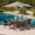 Christopher Knight Home Cliff Rectangular Outdoor Cast and Wicker 7-piece Set