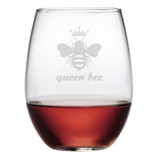 Queen Bee Stemless Wine Glasses (Set of 4)
