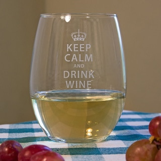 Keep Calm and Drink Wine Stemless Wine Glass (Set of 4)