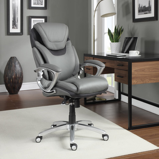 Serta AIR Health and Wellness Light Grey Bonded Leather Executive Office Chair