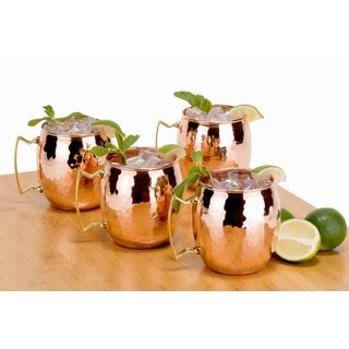 Old Dutch Solid Copper16 oz. Unlined Hammered Moscow Mule Mugs (Set of 4)