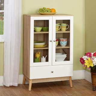 Simple Living Tillary White and Natural Two-door Cabinet