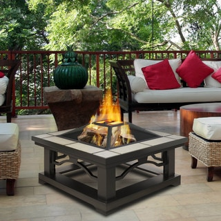 Real Flame Crestone Grey Tile Outdoor Fire Pit