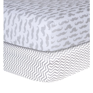 Trend Lab Grey and White Flannel Crib Sheet (Set of 2)