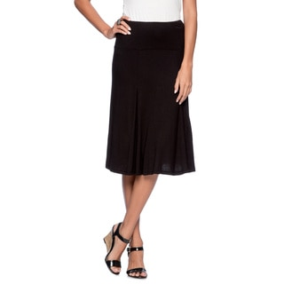 24/7 Comfort Apparel Women's Black Calf-length Skirt