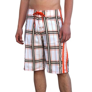Azul Swimwear Men's 'Squares' Orange Boardshorts
