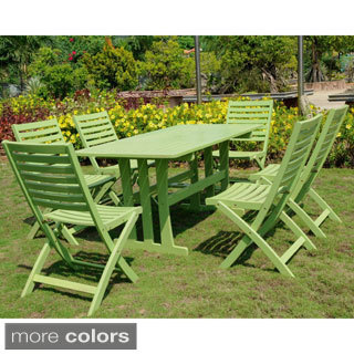 International Caravan Milazzo Stained Acacia Hardwood Outdoor 7-piece Dining Set