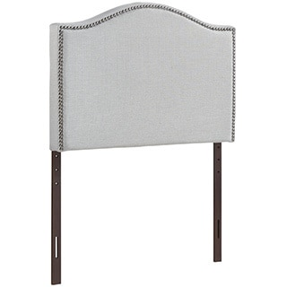 Grey Curl Nailhead Upholstered Headboard