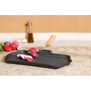 Cast Iron Griddle/ Grill with Wooden Handles