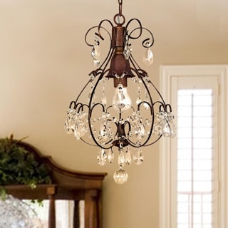 Brushed Oak 1-light Teardrop Crystal Chandelier