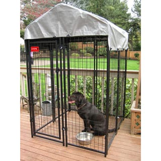 Lucky Dog Black Uptown Welded Wire Dog Kennel (4' x 4')